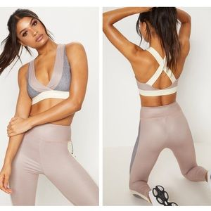 Pretty little thing contrast panel sports crop 4
